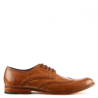 Tan Leather Contrast Sole Lace Up Brogue