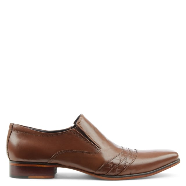 Tan Leather Contrast Stripe Loafer