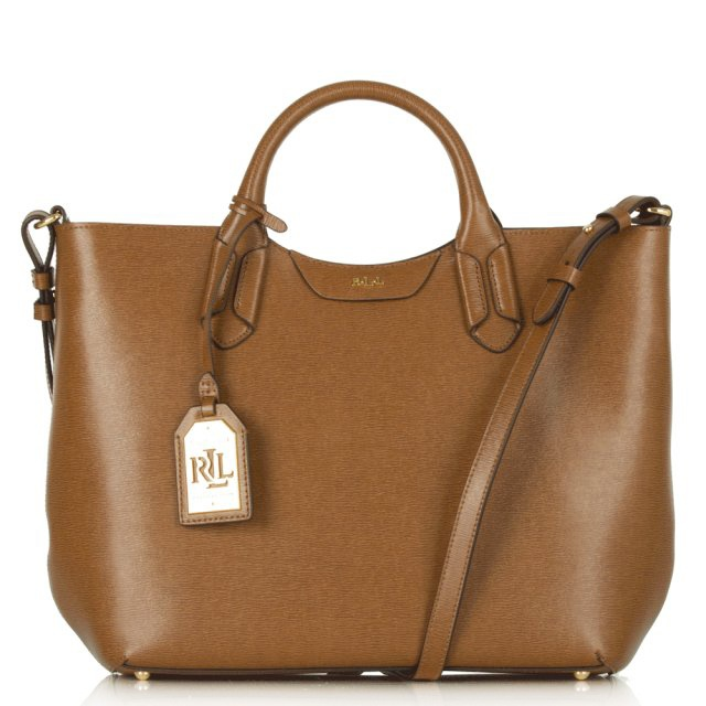 660a3ca1ef716 Lauren Ralph Lauren Tan Leather Convertible Tote Bag