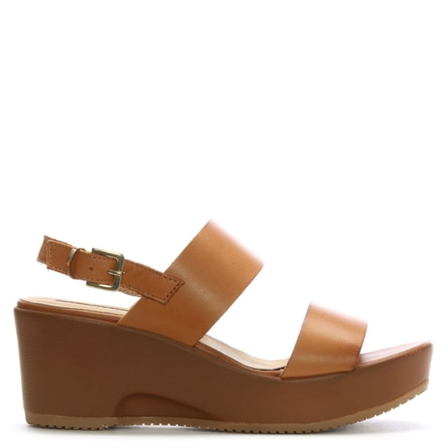 Tan Leather Double Strap Wedge Sandals