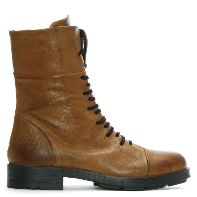 Tan Leather Elasticated Lace Biker Boots