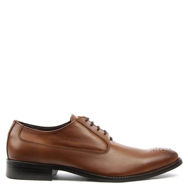 Tan Leather Hole Punch Lace Up Shoe