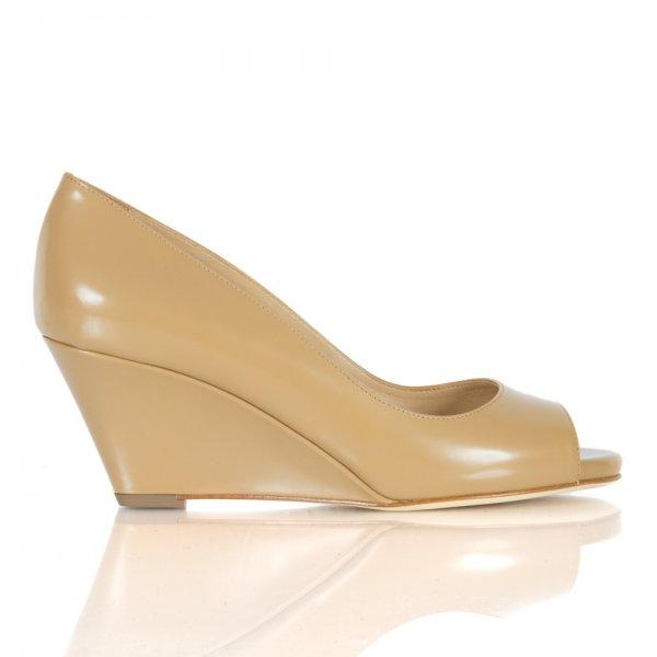 sergio leather low wedge peep toe shoe