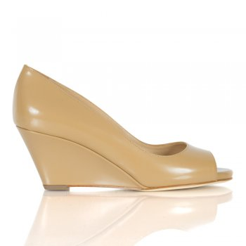 Tan Leather Low Wedge Peep Toe Shoe