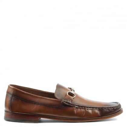 Tan Leather Metal Trim Loafer