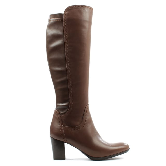 Tan Leather Mid Knee High Boot