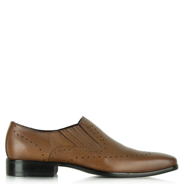 Tan Leather Punch Detail Loafer