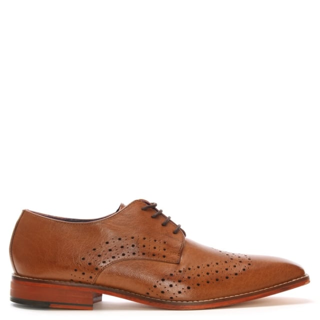 Gucinari Tan Leather Punched Brogues