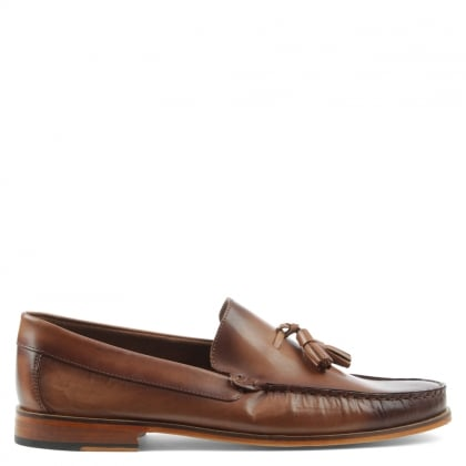 Tan Leather Slip On Tassel Loafer