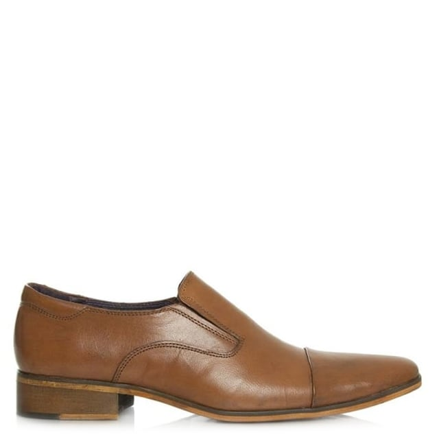 Tan Leather Square Toe Loafer