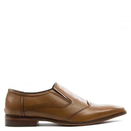 Tan Leather Square Toe Slip On Loafer