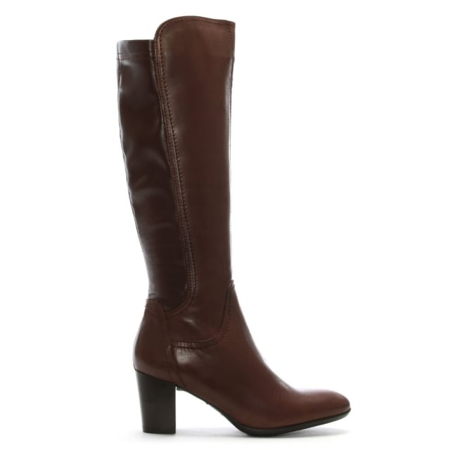 Lamica Tan Leather Stacked Heel Knee High Boots