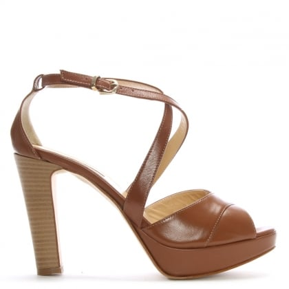Tan Leather Strappy Platform Sandals