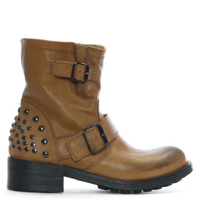 Tan Leather Studded Biker Boots