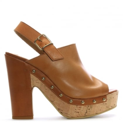 Tan Leather Studded Platform Sandals