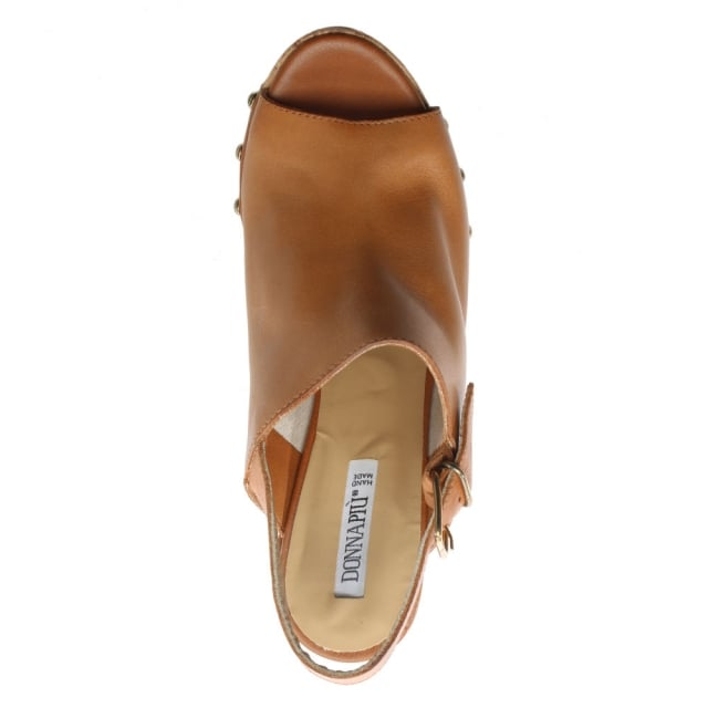 e131814721 Donna Piu Tan Leather Studded Platform Sandals
