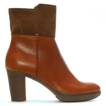 Tan Leather & Suede Contrast Ankle Boots