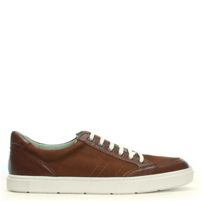 Tan Leather & Suede Lace Up Sneakers