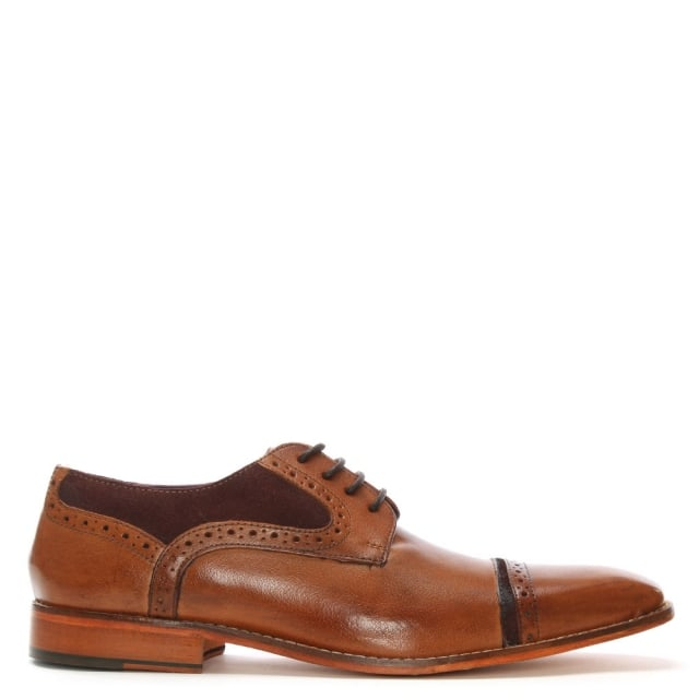 Tan Leather Suede Trim Brogues