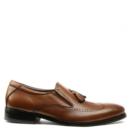 Gucinari Tan Leather Tassel Loafer
