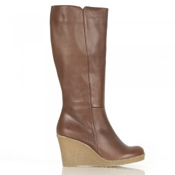 Tan Leather Tuchi Women's Wedge Boot