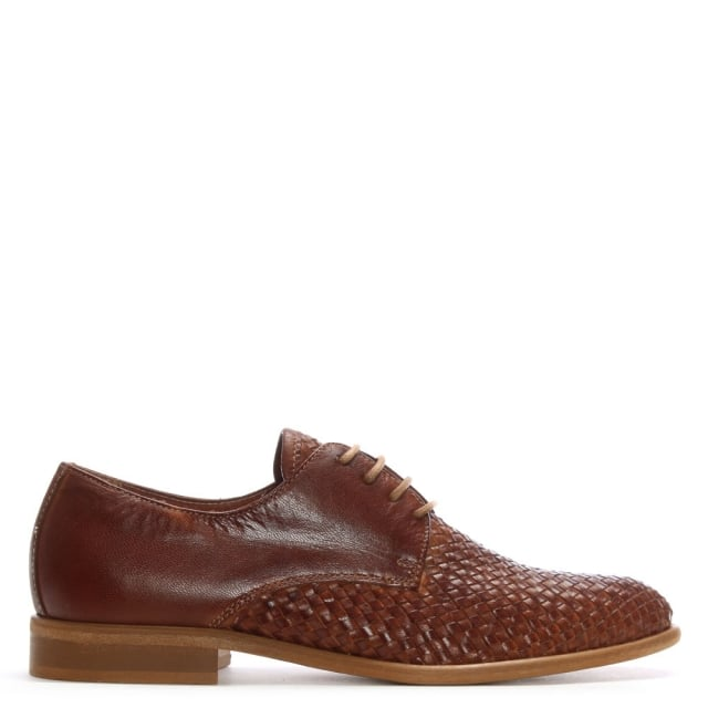 Tan Leather Woven Lace Up Day Shoes
