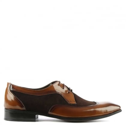 Gucinari Tan Patent Leather & Suede Panelled Dress Shoe