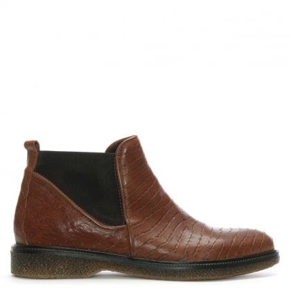 Tan Reptile Leather Chelsea Boots