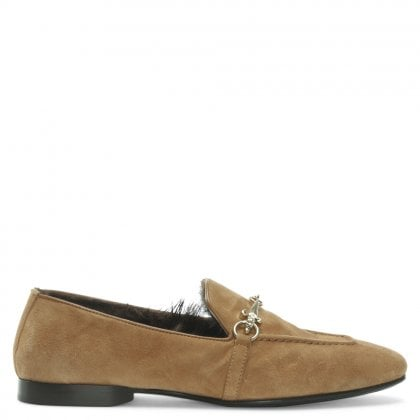 Tan Suede Buckle Loafers