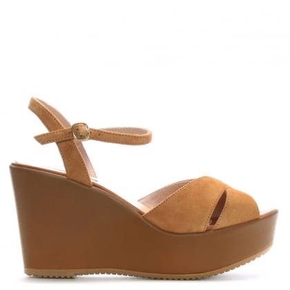 Tan Suede Cross Strap Wedge Sandals