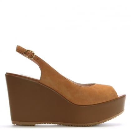 Tan Suede Sling Back Wedge Sandals
