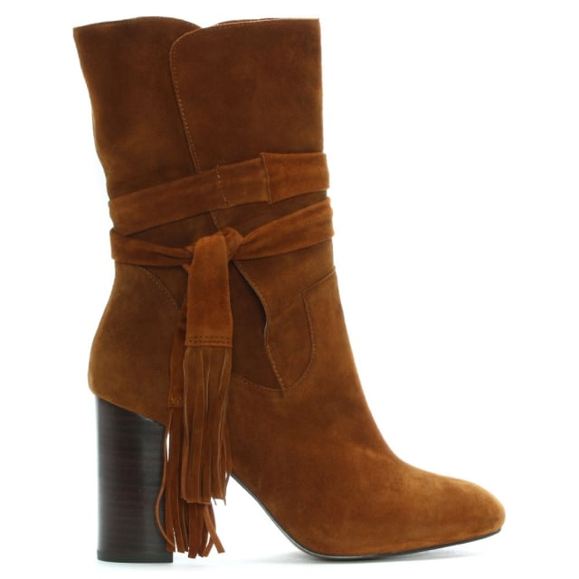 Tan Suede Tassel Ankle Boots
