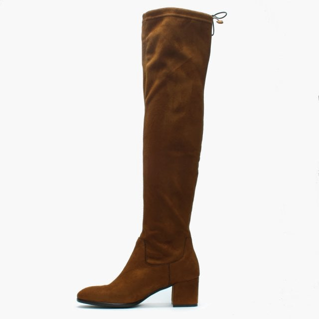 dfde6a82b65 Lamica Tan Suedette Stretch Over The Knee Boots