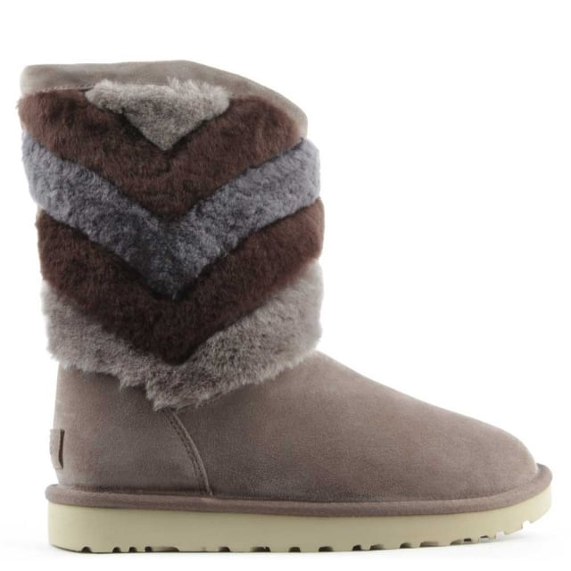 Tania Stormy Grey Suede Chevron Twinface Boot
