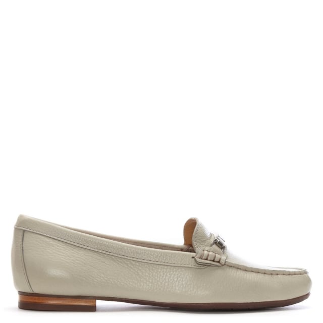 Tano Beige Pebbled Leather Loafers