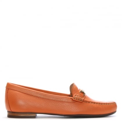 Tano Orange Pebbled Leather Loafers