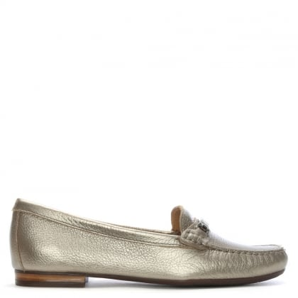 Tano Silver Metallic Pebbled Leather Loafers