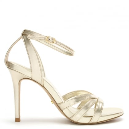 Tarren Gold Leather Ankle Strap Sandals