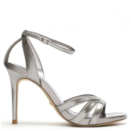 Tarren Silver Leather Ankle Strap Sandals