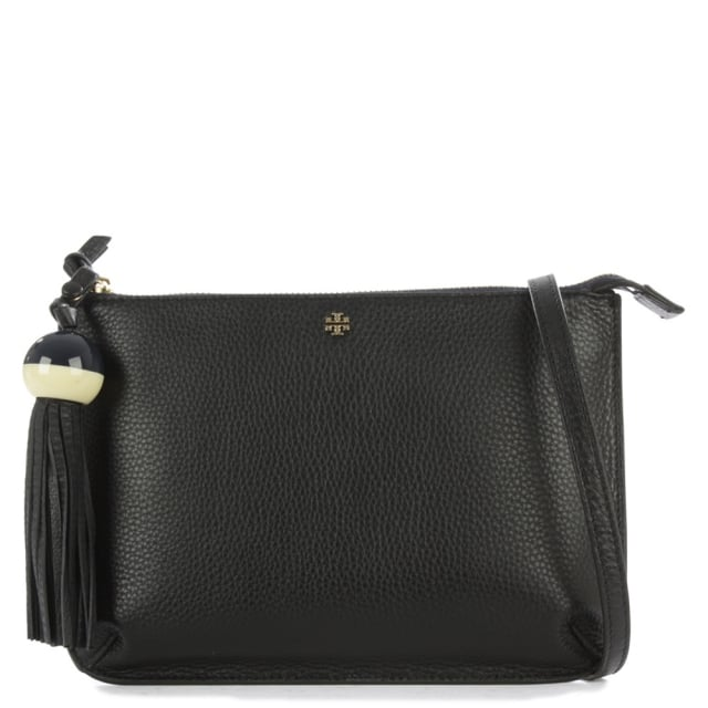 Tassel Black Leather Cross-Body Bag