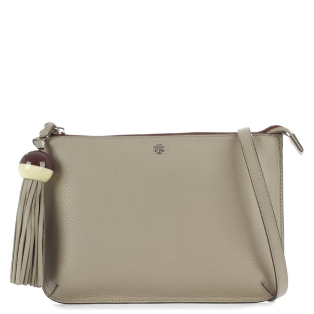 Tassel Grey Leather Cross-Body Bag