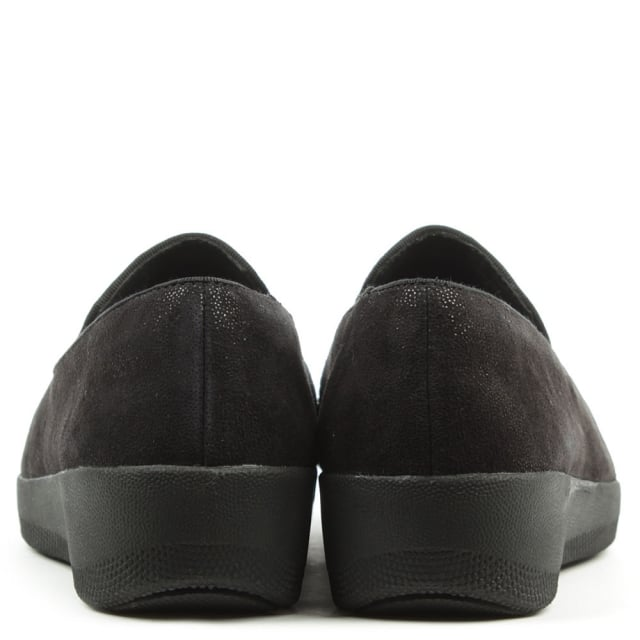 720e33e7bf8 FitFlop Tassel Superskate Black Shimmer Loafers