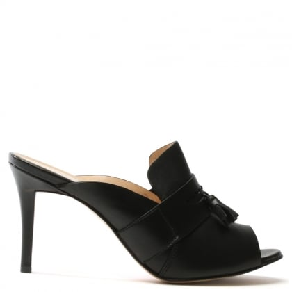 Daniel Tasseta Black Leather High Heel Tassel Front Mule