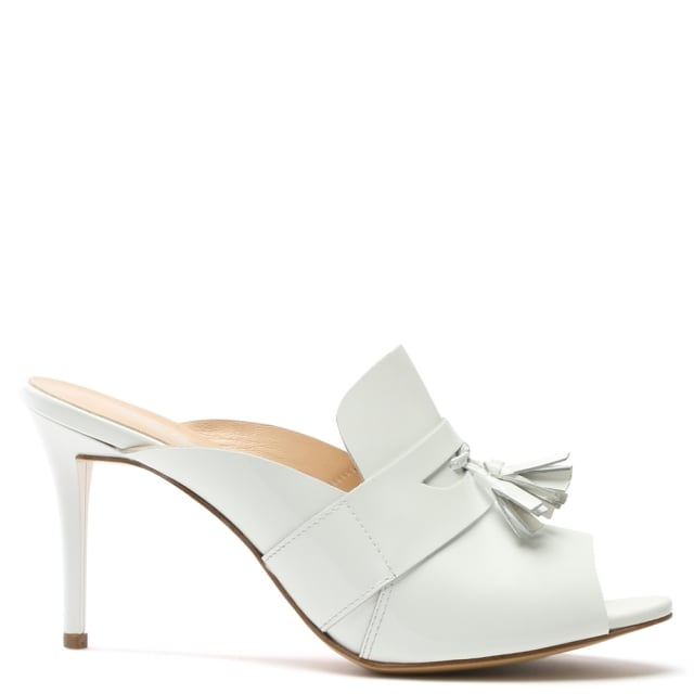 Tasseta White Patent Leather High Heel Tassel Front Mule