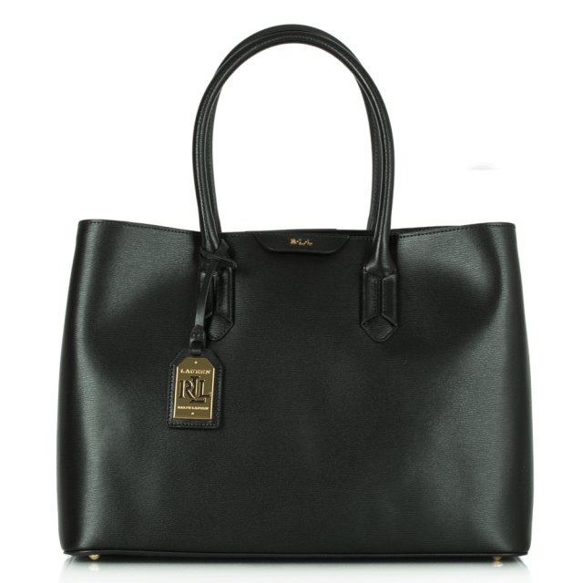 Tate City Black Leather Tote Bag