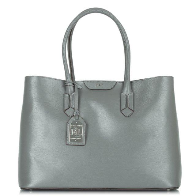 aaf504b117f9 Lauren Ralph Lauren Tate City Tote Grey Leather Bag