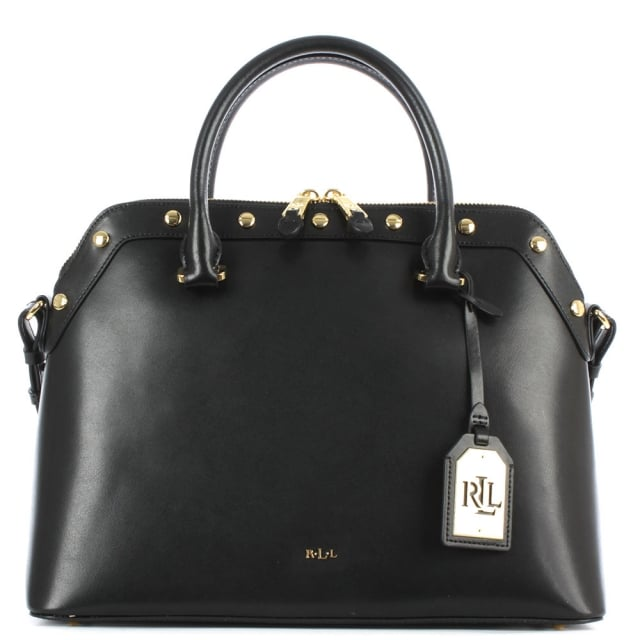 Tate Studded Black Leather Dome Satchel