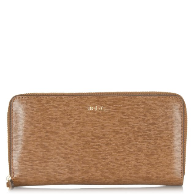 Tate Zip Around Tan Leather Wallet