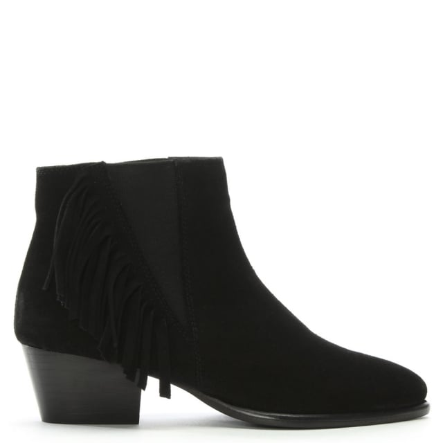 DF By Daniel Tatton Black Suede Fringed Ankle Boots
