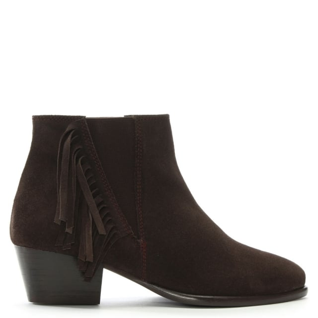 DF By Daniel Tatton Brown Suede Fringed Ankle Boots